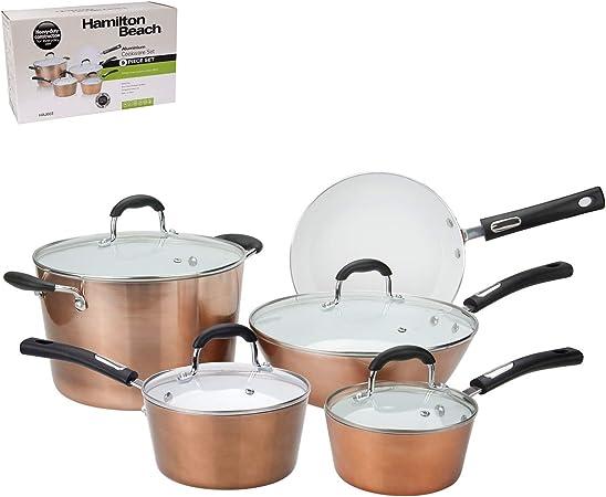 Hamilton Beach Batterie De Cuisine En Aluminium 9 Pc Set Copper