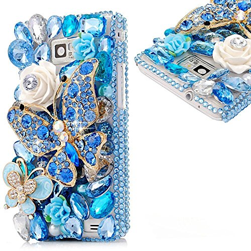KAKA(TM Fashion Style Blue Butterfly Pattern 3D Handmade Rhinestone Bling Crystal Pearl Flower Transparent Case Cover Clear Hard Case for Samsung Galaxy Note 5