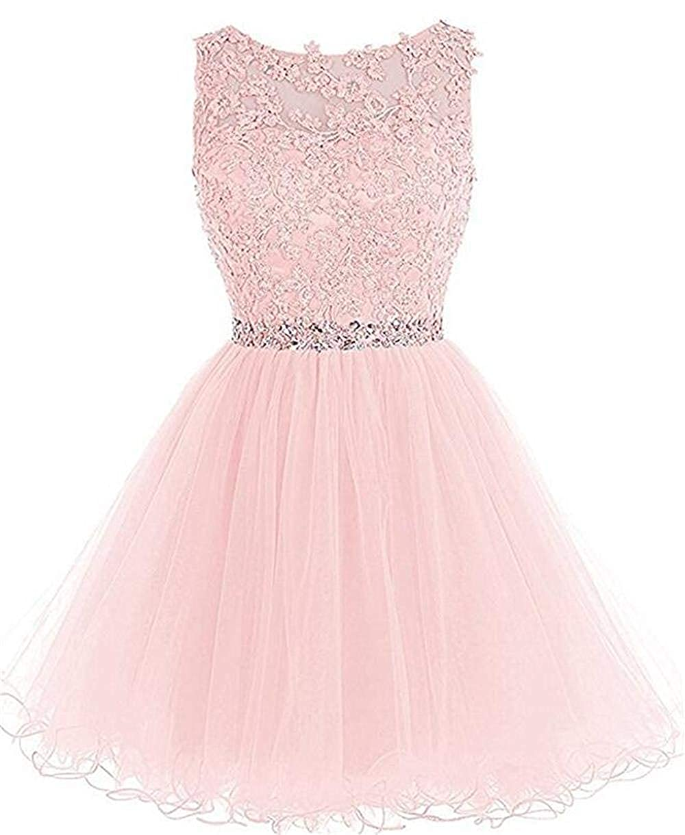 Style2dusty Pink ZVOCY Women's Tulle Homecoming Dresses Appliques Beads Short Prom Cocktail Party Dress