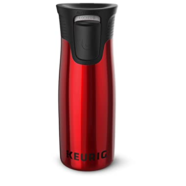 Keurig 14oz Contigo AUTOSEAL West Loop Vacuum Insulated Stainless Steel Coffee Travel Mug with Easy-Clean Lid, Works with K-Cup Pod Coffee Makers, Red