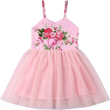 Toddle Baby Kids Girl Princess Floral Tutu Dress Party Wedding Beach Mini Dress