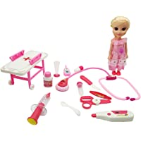 Gift Paradize Pretend & Play Kit Doctor Medical Set with 1 Doll 9 inches , 1 Stretcher & 12 Equipments for Kids with Light and Sound