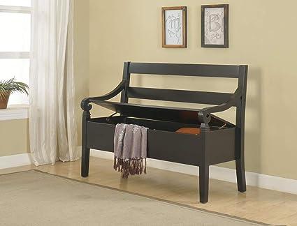 Flip Top Storage Bench   Wood Storage Bench   Black