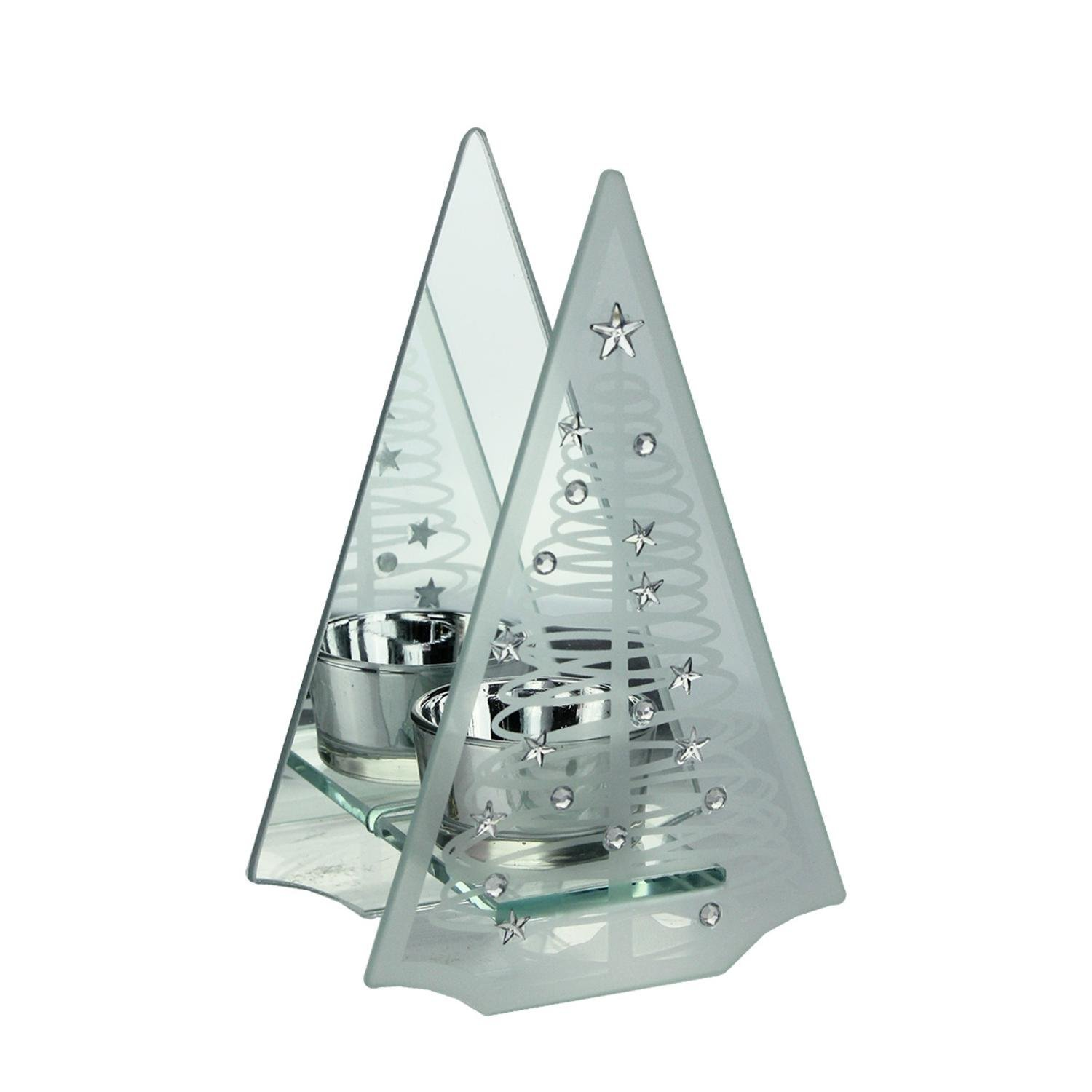 Midwest Gloves 6.75'' Frosted Glass Mirrored Christmas Tree Tea Light Candle Holder