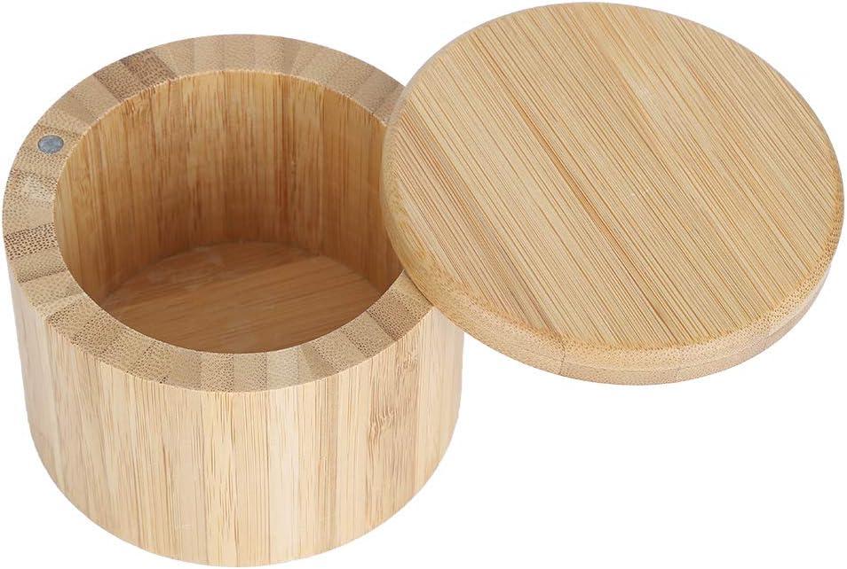 Bo/îte De Sel En Bambou De 5,5 Oz Bo/îte /à /épices De Poivre De Pot Dassaisonnement Rond Avec Couvercle Magn/étique Pivotant