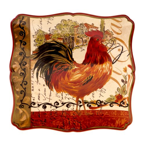 Rooster Square Platter - Certified International Tuscan Rooster Square Platter, 14.5-Inch