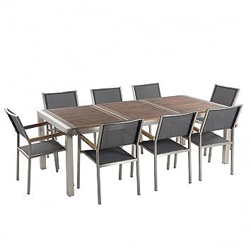 Gartenmöbel Set Edelstahl mit Holzplatte 220 x 100 cm 8-Sitzer ...