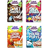 Love Grown Kids Cereal Variety Pack: Comet Crispies, Sea Stars, Lion Loops, Polar Puffs (12 pack)