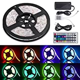 #9: Sunnest Led Light Strip Waterproof 16.4ft SMD 5050 300leds, 12V DC Flexible Light Strips, LED Tape, RGB LED Strip Kit with 44key Remote Controller and Power Supply for Kitchen Bedroom and Sitting Room