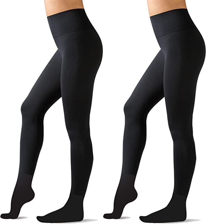 Lot of 2 Fleece Plush Lined Tights FULL FOOT Opaque Black Ladies Medium//Large