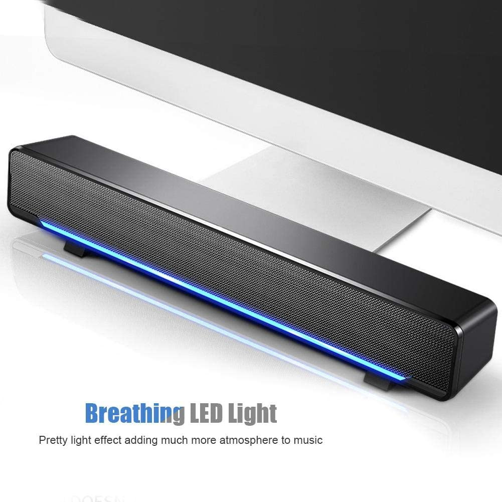 Smartphone Tablet PC MP4 and More Suitable for Desktop 3.5mm Input Sound bar Black TV Yosoo Health Gear Portable USB Wired Sound Bar MP3 Laptop
