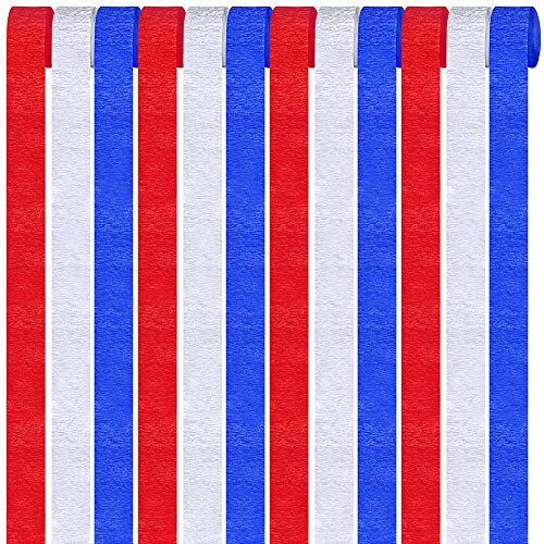 Supla 12 Pack Patriotic Crepe Paper Streamers Party Streamers Backdrop Red Blue White Crepe Paper Rolls for American 4th of July Crafts Patriotic Memorial Day Decorations Photo Booth Backdrop]()