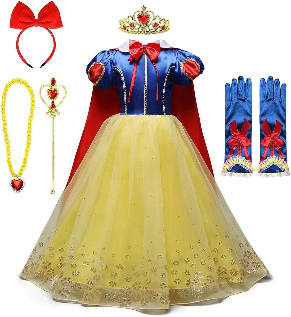FMYFWY Niñas Vestidos de Blancanieves con Capa Disfraz de Carnaval Princesa Cumpleaños Traje de Halloween Navidad Fiesta de Cosplay Ceremonia Aniversario Bautizo Comunión Boda (Accesorios)