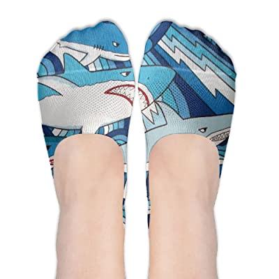 Low Cut Socks Cool Shark Watercolor Painting Printed Casual No-show Liner Invisible Polyester Cotton Sock For Girls & Womens , One Pair