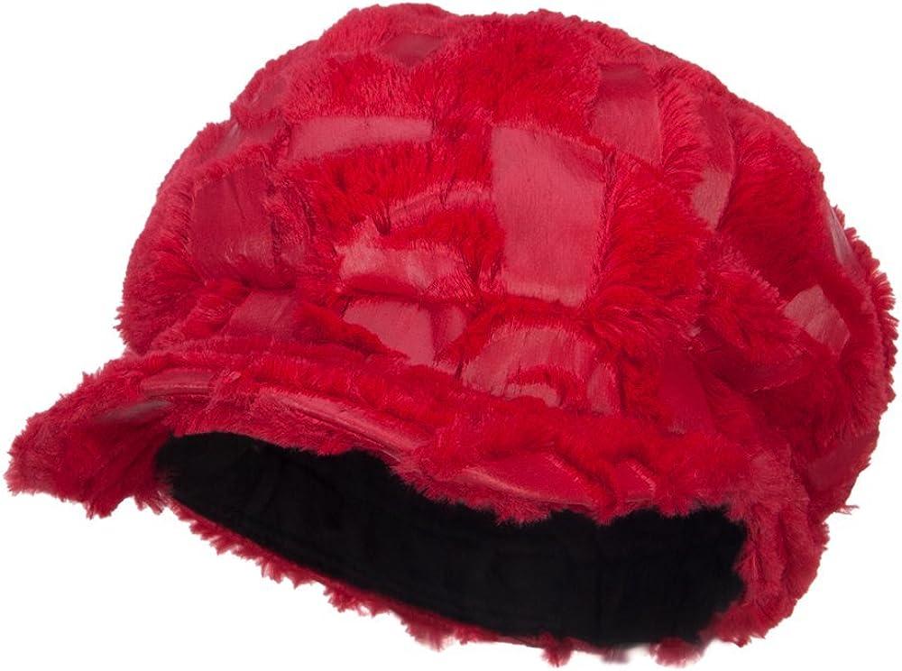 Soft Fur Patttern Newsboy Hat