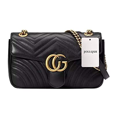 0eb2aee1d3a7 JOLLQUE Women's Leather Shoulder Bag,Velvet Crossbody Bag (Black Leather  Large)