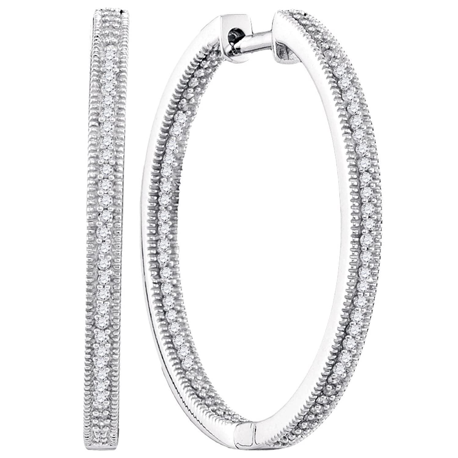 0.50 Carat (ctw) 10K White Gold Round Diamond Ladies Millgrain In and Out Fashion Hoop Earrings 1/2 CT