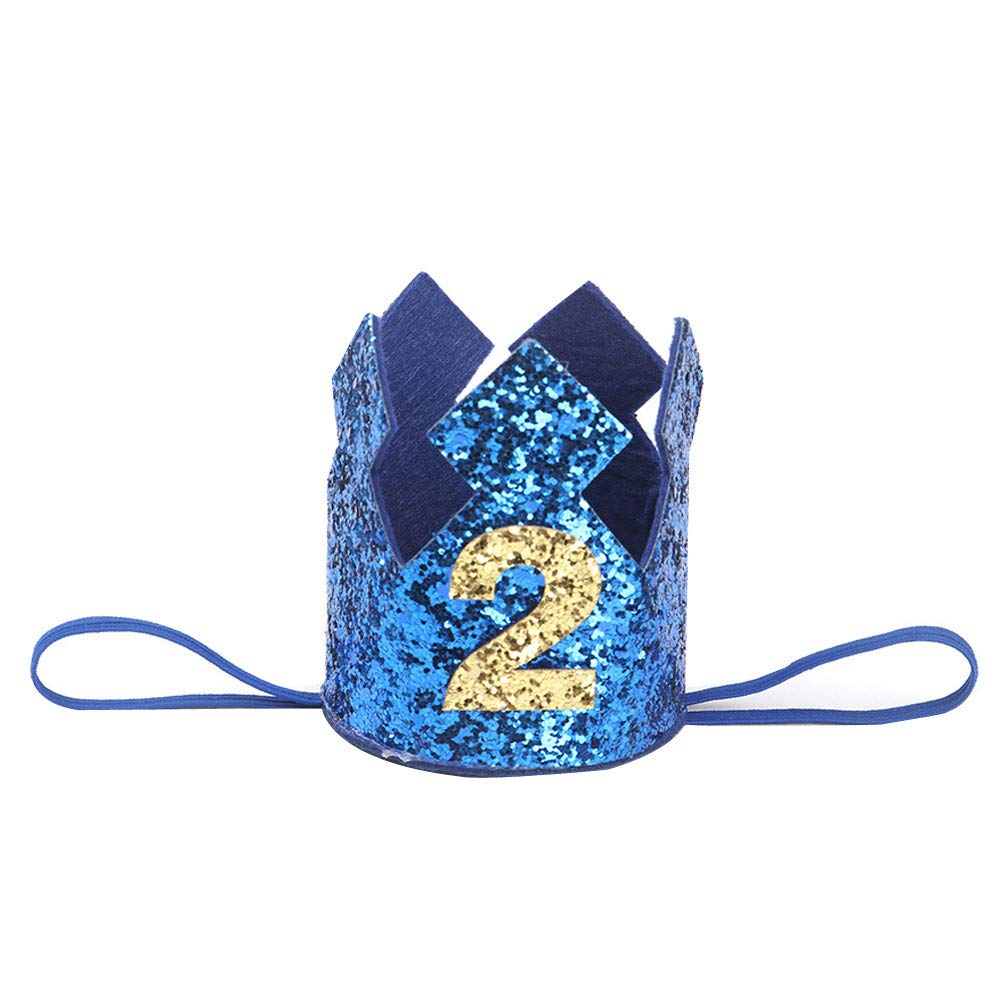 NUWFOR 1PC Boy Head Accessories Hairband Baby Elastic Brithday Number Crown Headwear(Blue,2)