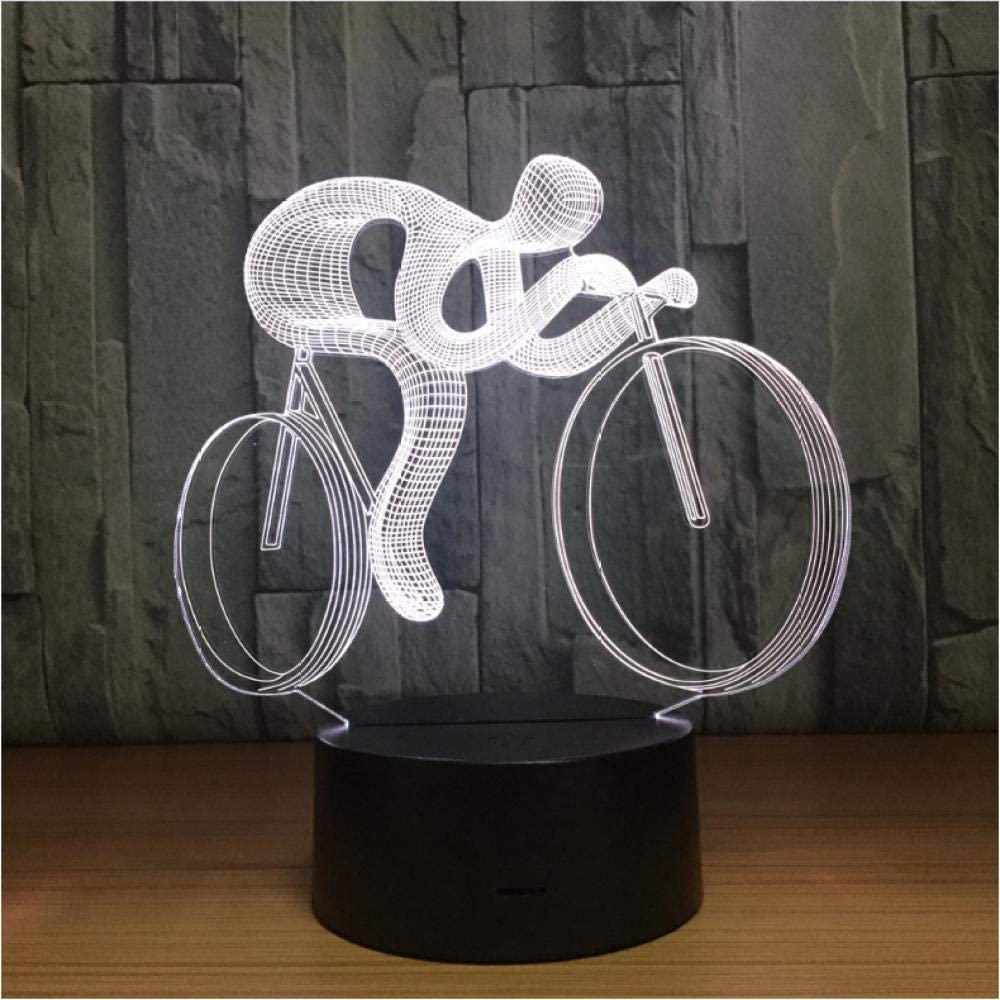 Wangzhuoyue Bicicleta 3D Led Lámpara De Noche Luz 7 Cambio De Color Visual Holograma Decoración Baterías Mesa Usb Lampara Regalo Para Deportista
