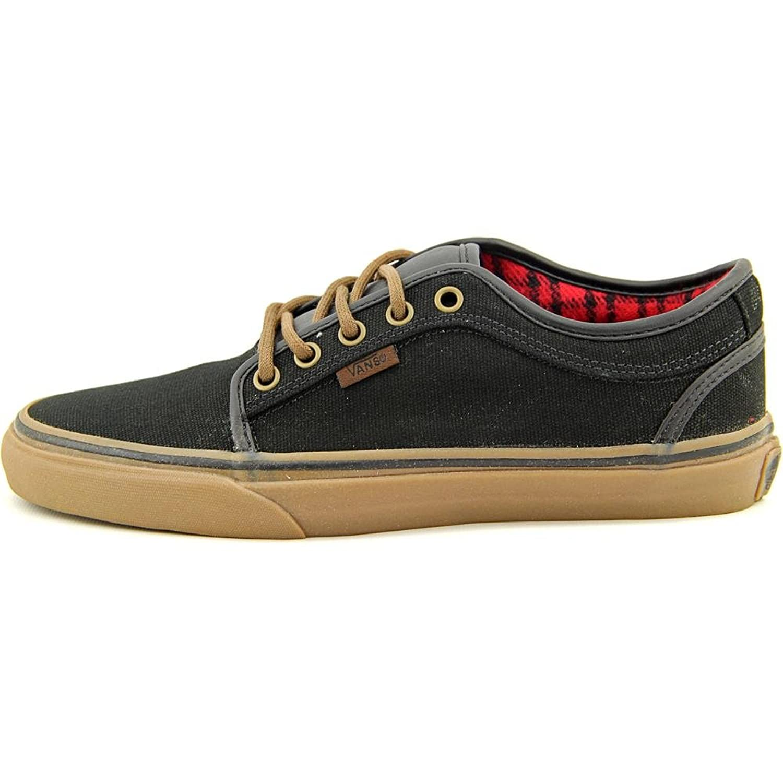Furgonetas Chukker Baja Goma Negro Y Tela De Franela Zapatos De Skate P086hgV4