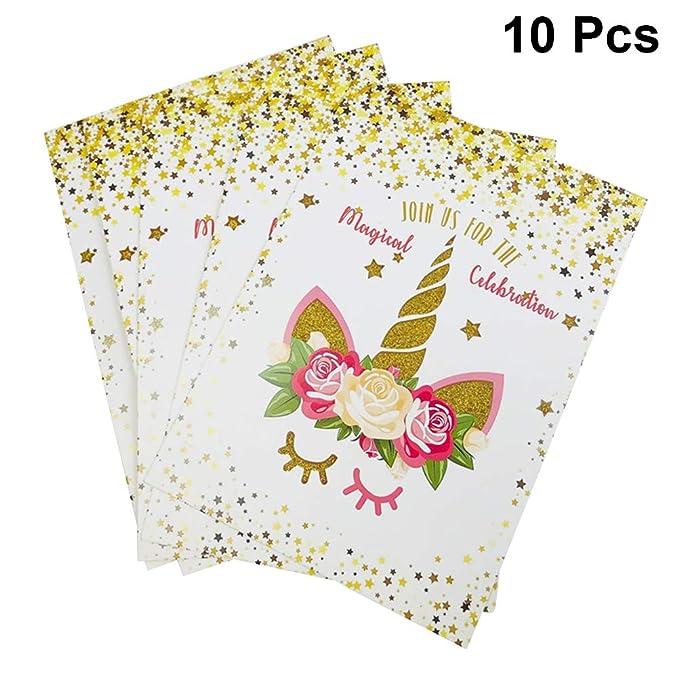 Tarjetas de invitación Unicornio de Amosfun con sobres ...