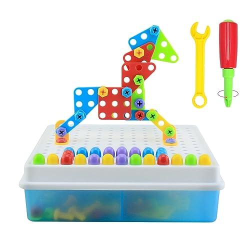 BBLIKE Puzzles 3D Jeu De Construction Assemblage Blocs Plastique Jouet Mosaïque Briques Pour Garçon Fille pour enfant de plus de 3 ans(189 pcs)