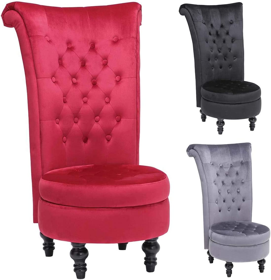 YC High Back Accent Chair Throne Chair Velvet Chair with Storage for Bedroom Living Room Dressing Table Seat Wood Legs