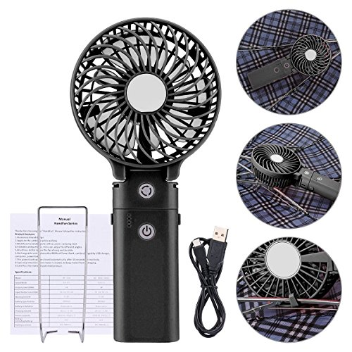 Portable Handheld Fan DOIOWN USB Mini Table Desk Personal Fan with 4000mAh Rechargeable Power Bank For Travel Outdoor Pool Car Desk (4000mAh portable charger&black) by DOIOWN (Image #3)