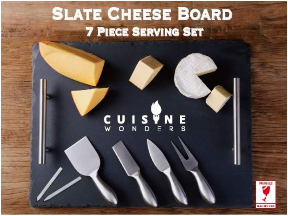 Slate Cheese Board and Knife Set, Stainless Steel Handles & Cutlery [7 pc set], Premium Quality, Easy Transportation, 16''x12'', 4 Cutlery & 2 Chalks (Stainless Steel)