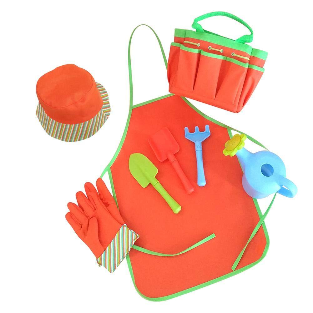 Juego de siembra de herramientas de jardiner/ía para ni/ños 8PCS con regadera de rastra de pala