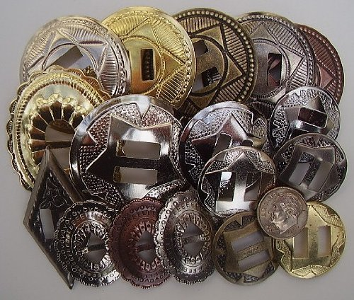 Conchos Grab Bag Mixed Sizes Assorted 50 Pcs by Dangerous Threads