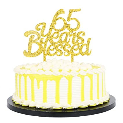 PALASASA Gold Glitter Acrylic 65 Years Blessed Cake Topper