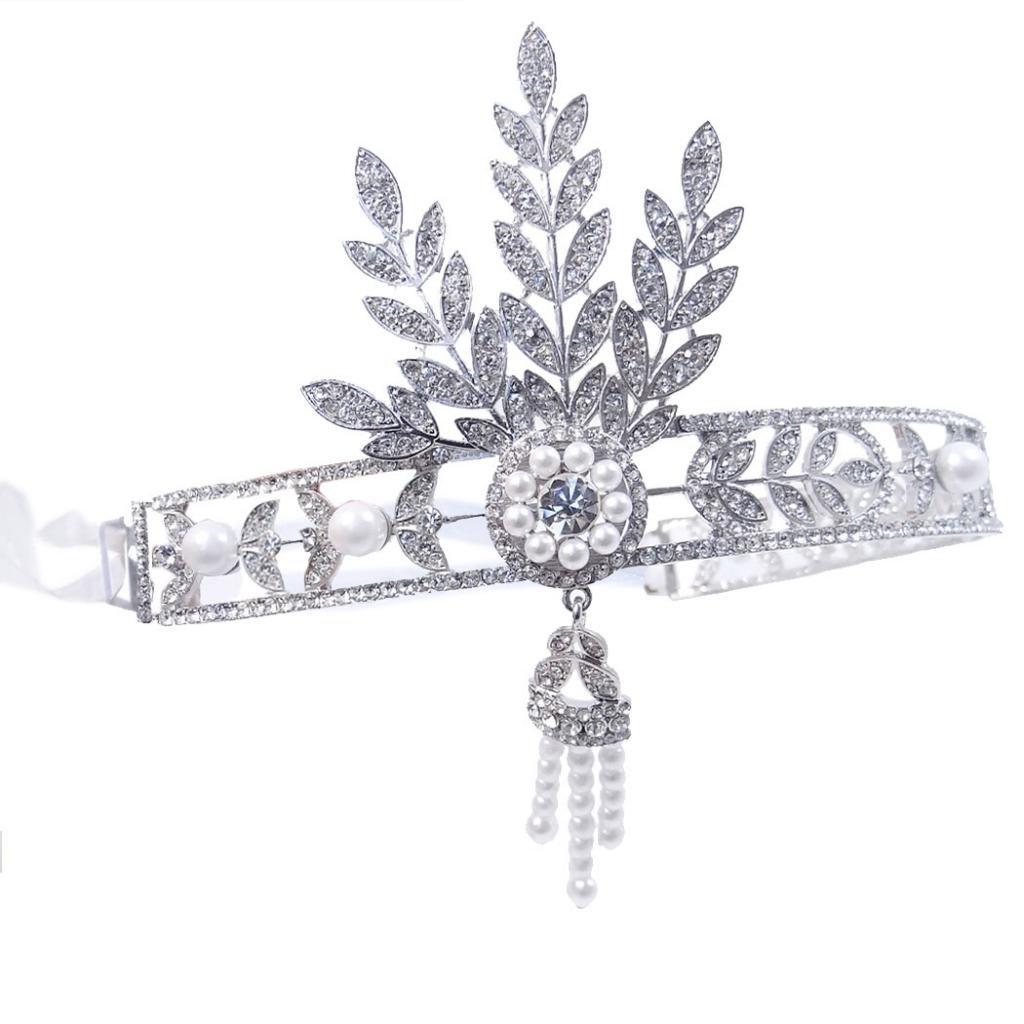 Ever Faith Bridal 1920's Style Art Deco Movie Inspired Leaf Simulated Pearl Headband Hair Tiara N02497-3