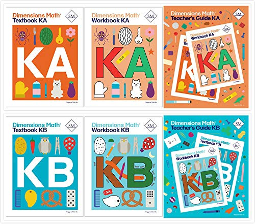 Dimensions Math Level K Complete Set (6 Books) - Textbooks KA & KB, Workbooks KA & KB, Teacher