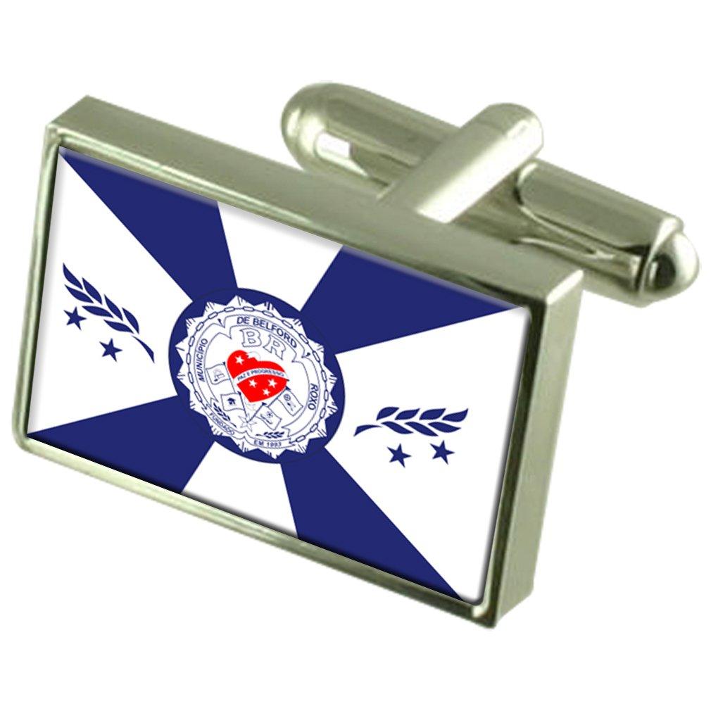 Belford Roxo City Rio de Janeiro State Sterling Silver Flag Cufflinks Engraved Box