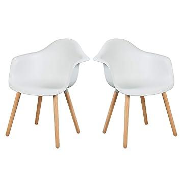 Elightry Cuisine Salle X Chaises En chaise À Manger Assise Blanc De Plastique Pour 2 wOmN08vn