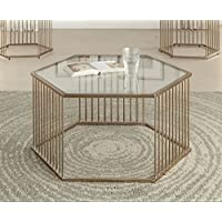 Major-Q 9081240gl 18 H Contemporary Style 5mm Clear Tempered Glass Top Hexagonal Champagne Finish Metal Base Living Room Coffee Table