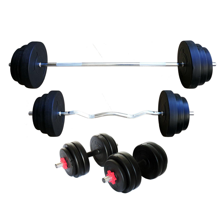 Lang-, Kurz- & Curlhantelset Hanteltange aus Vollstahl mit Hantelscheiben Gewichtenwahl