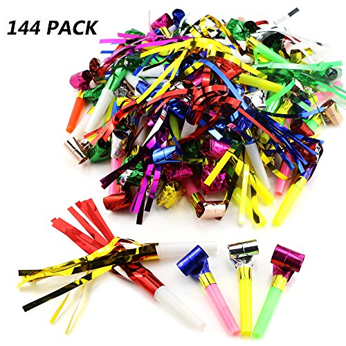 Weoxpr 144pcs Two Kinds of Noisemakers Blowouts Party Horns, Bulk Toys, Birthday Party Favors, New Years Party Noisemakers, Party Accessory, Prizes For Kids, Party Whistles and Streamers