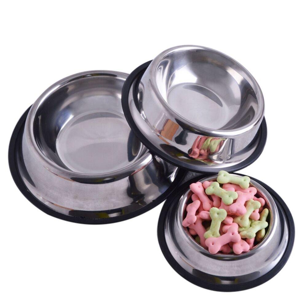 JUNKE Pet Bowl Stainless Steel Non-Skid DiWWFJZ Pet Feeder for Small Medium Large Dog, Cat Feeding Bowl Water Bowl, 15cm / 5.9inch