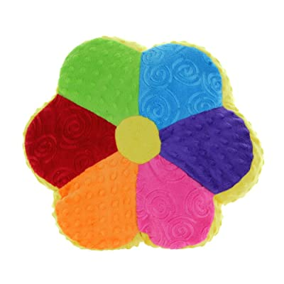 "Snuggle Stuffs Flower Power 14"" Minky Plush Colorful Rainbow Throw Pillow: Toys & Games"