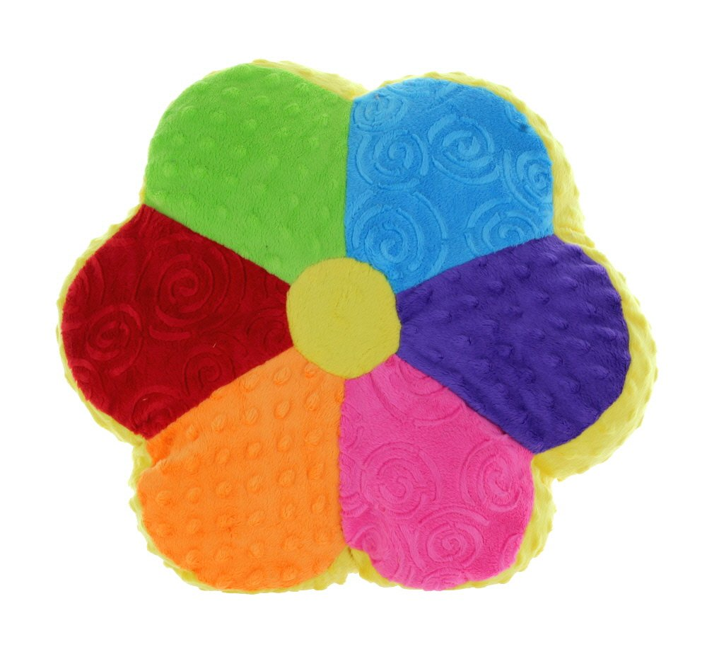 Snuggle Stuffs Flower Power 14 Minky Plush Colorful Rainbow Throw Pillow