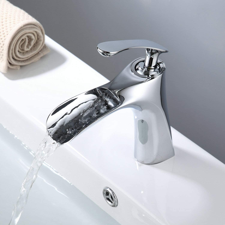 Taille L Noir mat givr/é robinet mitigeur Noir Acier inoxydable Unique Lavabo Robinet froide et deau chaude un seul trou pour la maison de cuisine et de salle de bain seul robinet
