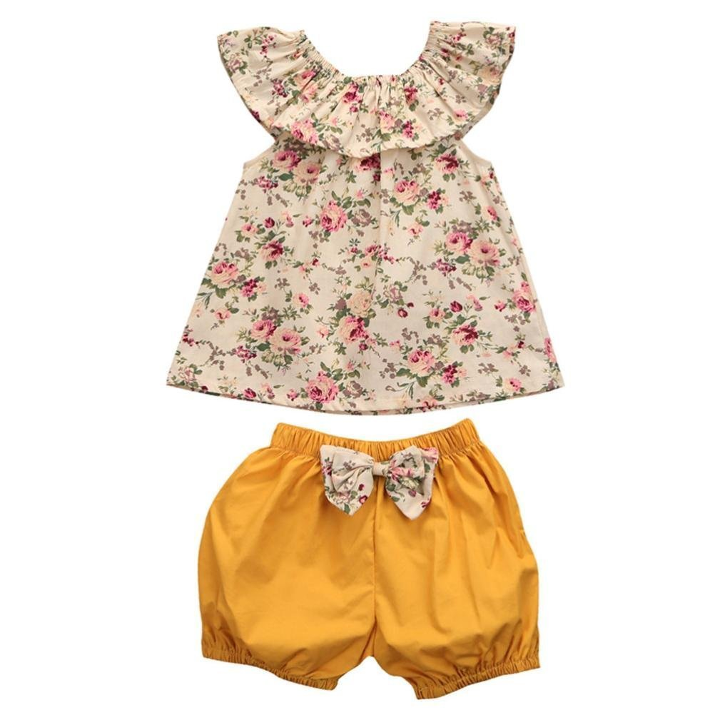Puseky Infant Toddler Baby Girls Floral Ruffle Shirt and Shorts Clothes Outfit Set (12-18 Months, Floral+Yellow)