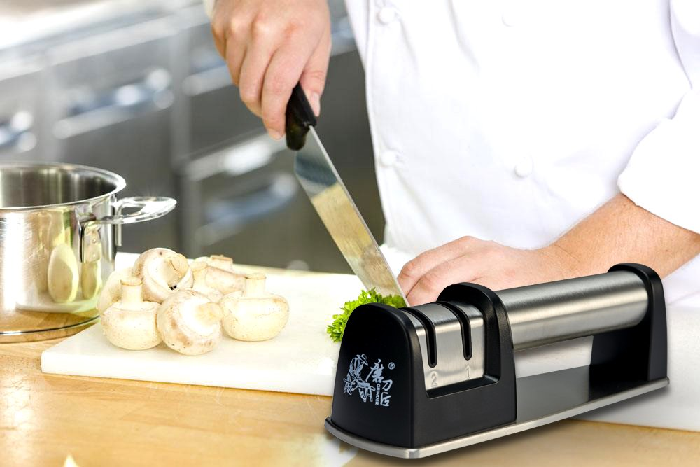 Afilador de Cuchillos, Splink Profesional con Dos Etapas Un Muesca Cerámica y Un Acero Afiladore Afilador con mango