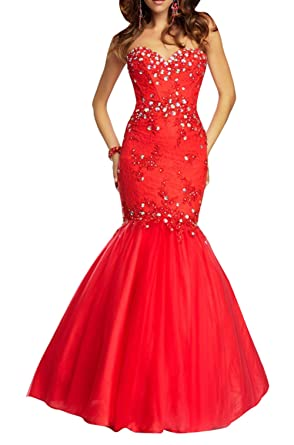 DAPENE Womens Sweetheart Rhinestone Mermaid Long Prom Dress Red