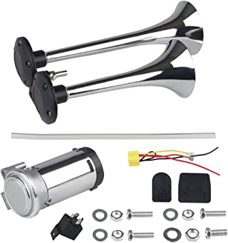 WATERWICH 12V Air Horn Kit Dual Trumpet Electric Train Horn with Compressor Super Loud 150DB for Vehicle Truck Lorry Boat Car Van SUV Jeep