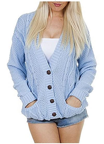 57ca411e48 OgLuxe Women s Ladies Long Sleeve Pocket Cable Knit Chunky Cardigan Size  6-24 (S