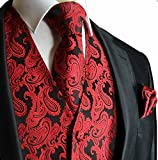 Paul Malone Formal Tuxedo Vest Set With Tie and Pocket Square