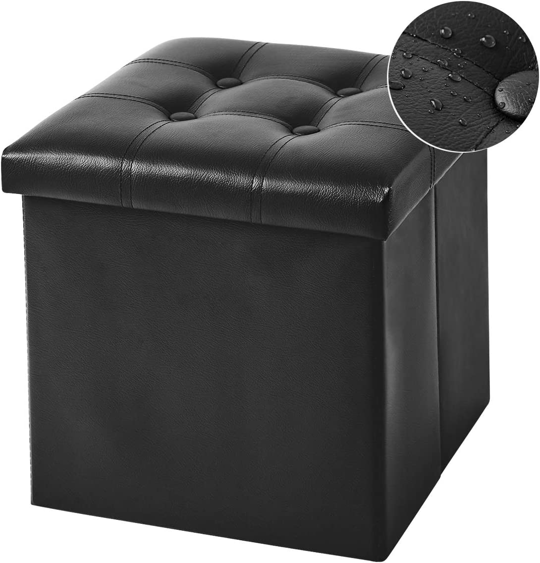 YOUDENOVA 15 inches Folding Storage Ottoman Black, Leather Support 350lbs Cube Storage Boxes Footrest Stool Small Ottomans with Foam Padded Seat